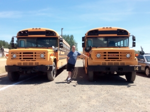 Meet our Blue Bird Buses, Matthew (Our home bus) and Mark (our mobile outreach office)